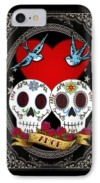 Love Skulls II IPhone Case by Tammy Wetzel