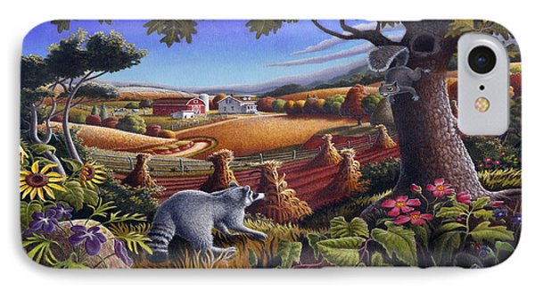 Rural Country Farm Life Landscape Folk Art Raccoon Squirrel Rustic Americana Scene  IPhone Case by Walt Curlee