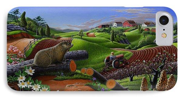 Farm Folk Art - Groundhog Spring Appalachia Landscape - Rural Country Americana - Woodchuck IPhone Case by Walt Curlee