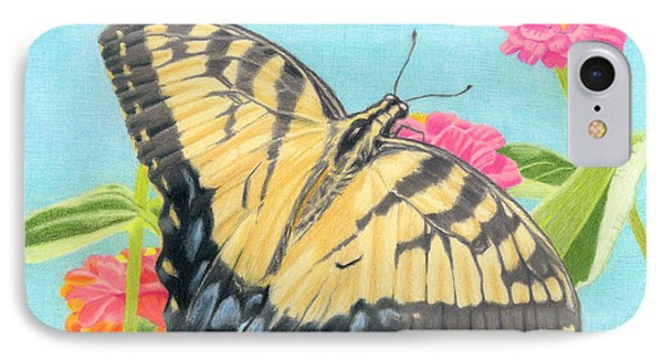 Swallowtail Butterfly And Zinnias IPhone Case by Sarah Batalka