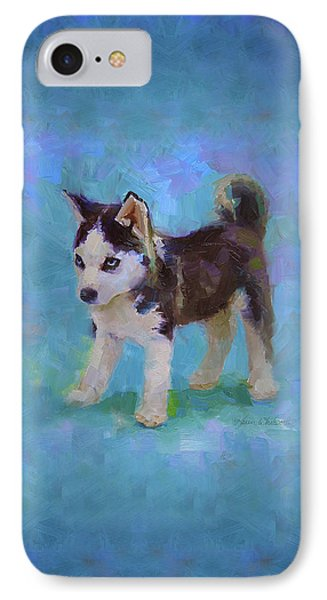 Alaskan Husky Sled Dog Puppy IPhone Case by Karen Whitworth