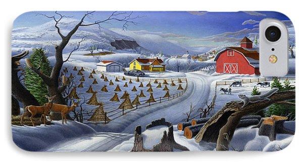 Folk Art Winter Landscape IPhone Case by Walt Curlee