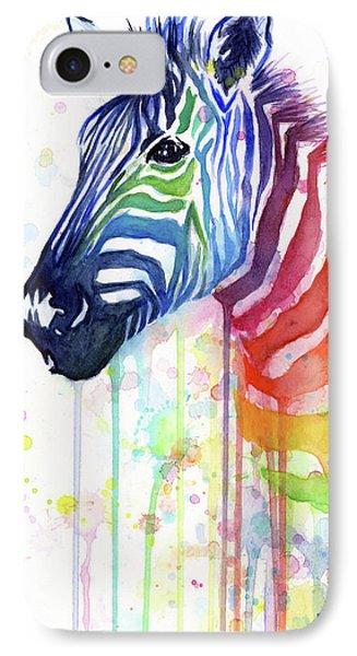 Rainbow Zebra - Ode To Fruit Stripes IPhone 7 Case by Olga Shvartsur