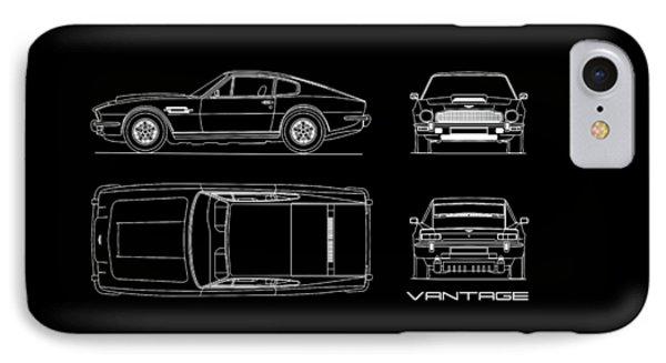 Aston Martin V8 Vantage Blueprint IPhone Case by Mark Rogan