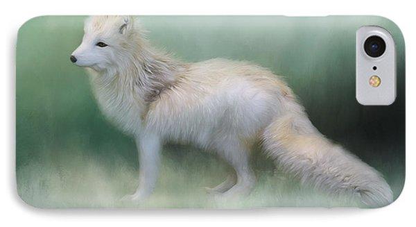 At The Centre - Arctic Fox Art IPhone Case by Jordan Blackstone