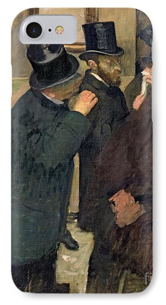 At The Stock Exchange IPhone Case by Edgar Degas