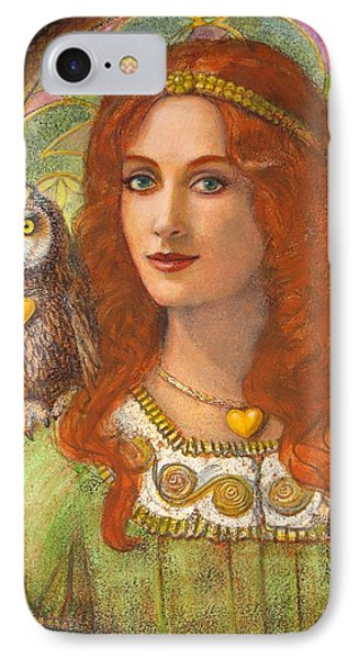 Athena And Her Owl- Wise Ones IPhone Case by Sue Halstenberg
