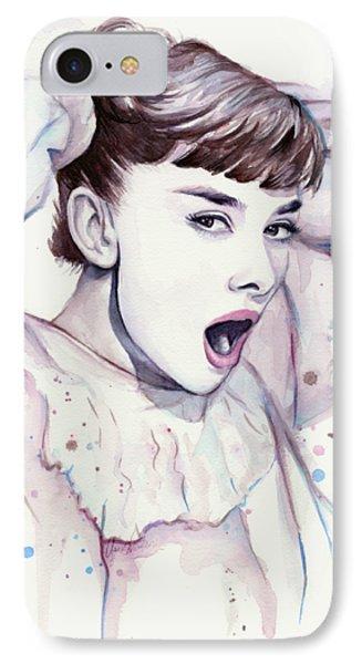 Audrey - Purple Scream IPhone 7 Case by Olga Shvartsur