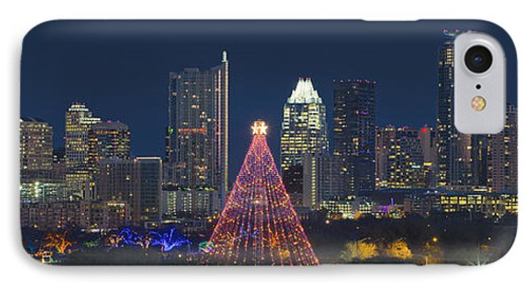 Austin Panorama Of The Trail Of Lights And Skyline IPhone Case by Rob Greebon