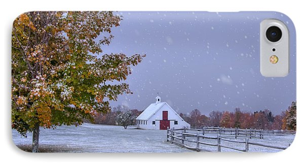 Autumn Barn In Snow - Vermont IPhone Case by Joann Vitali