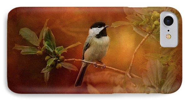 Autumn Day Chickadee Bird Art IPhone Case by Jai Johnson