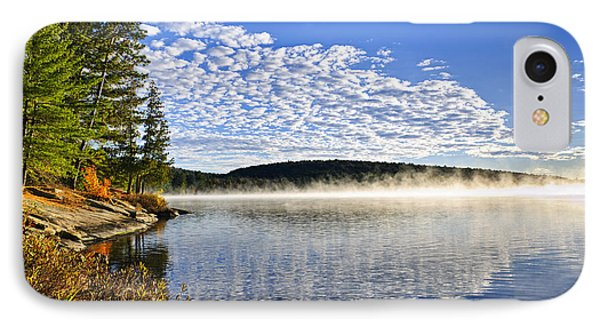 Autumn Lake Shore With Fog IPhone Case by Elena Elisseeva