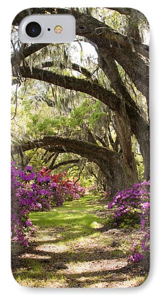 Azaleas And Live Oaks At Magnolia Plantation Gardens IPhone Case by Dustin K Ryan
