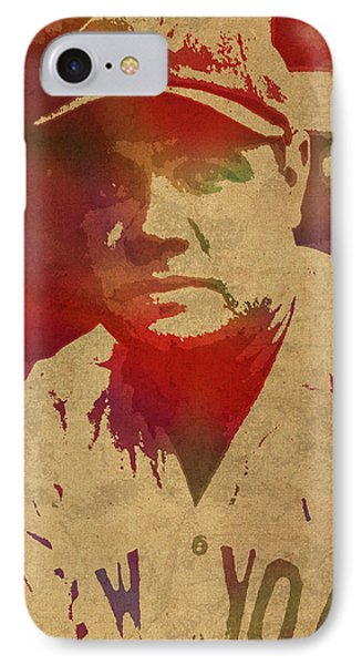 Babe Ruth Baseball Player New York Yankees Vintage Watercolor Portrait On Worn Canvas IPhone Case by Design Turnpike