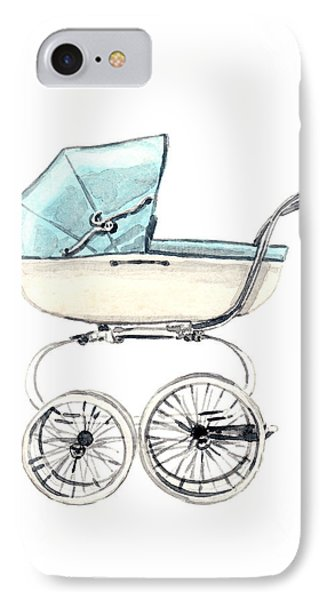 Baby Carriage In Blue - Vintage Pram English IPhone Case by Laura Row