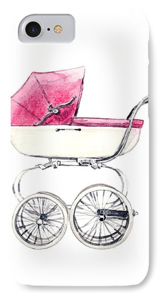 Baby Carriage In Pink - Vintage Pram English IPhone Case by Laura Row