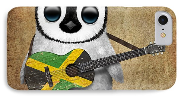 Baby Penguin Playing Jamaican Flag Guitar IPhone Case by Jeff Bartels