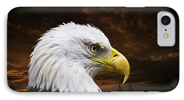 Bald Eagle - Freedom And Hope - Artist Cris Hayes IPhone 7 Case by Cris Hayes