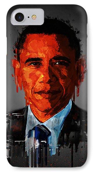 Barack Obama Acrylic Portrait IPhone Case by Georgeta Blanaru