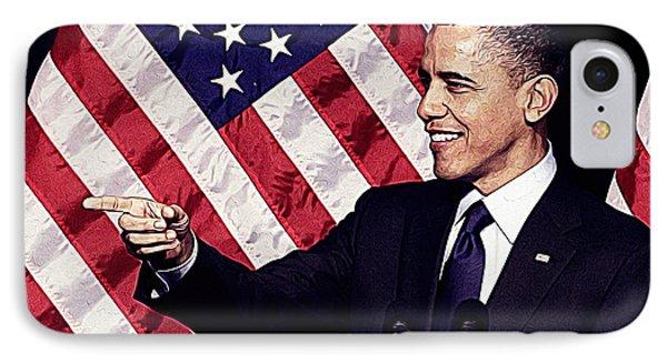 Barack Obama IPhone Case by Iguanna Espinosa