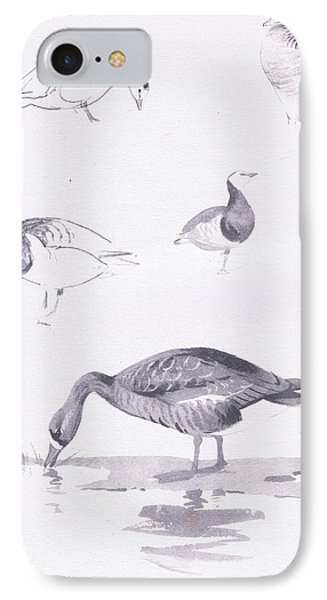 Barnacle And White Fronted Geese IPhone Case by Archibald Thorburn