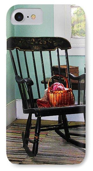 Basket Of Yarn On Rocking Chair Phone Case by Susan Savad