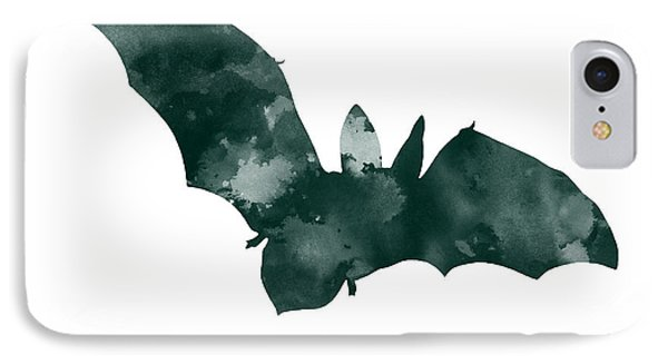 Bat Minimalist Watercolor Painting For Sale IPhone Case by Joanna Szmerdt