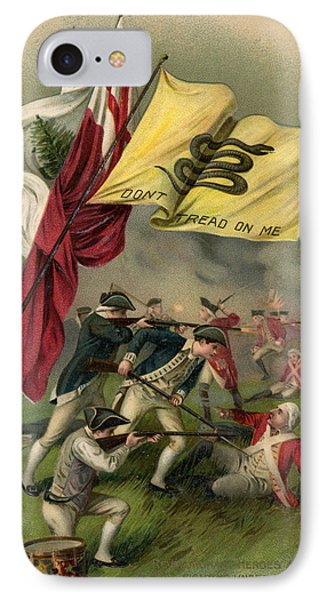 Battle Of Bunker Hill With Gadsden Flag IPhone Case by American School