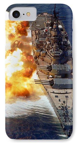 Battleship Uss Iowa Firing Its Mark 7 IPhone Case by Stocktrek Images