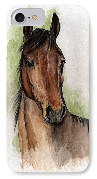 Bay Horse Portrait Watercolor Painting 02 2013 Phone Case by Angel  Tarantella
