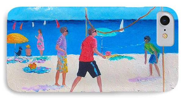 Beach Painting Beach Volleyball  By Jan Matson IPhone Case by Jan Matson