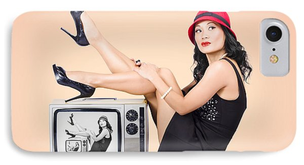 Beautiful Asian Pin Up Girl Posing On Retro Tv Set IPhone Case by Jorgo Photography - Wall Art Gallery