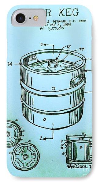 Beer Keg 1994 Patent - Blue IPhone 7 Case by Scott D Van Osdol