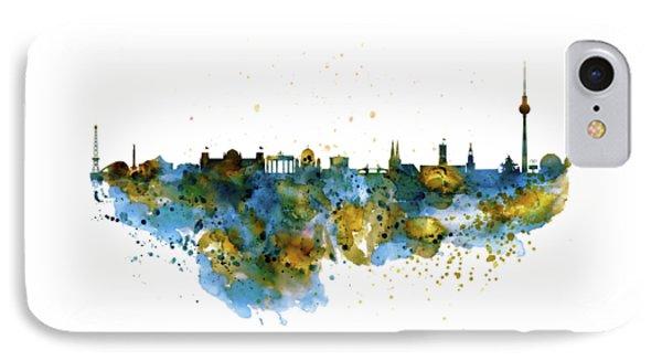 Berlin Watercolor Skyline IPhone Case by Marian Voicu