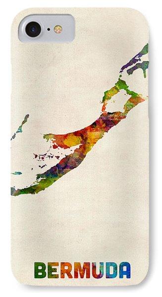 Bermuda Watercolor Map IPhone Case by Michael Tompsett