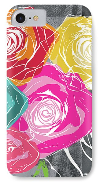 Big Colorful Roses 2- Art By Linda Woods IPhone Case by Linda Woods
