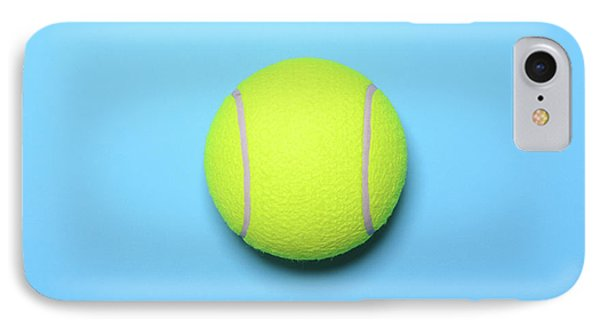Big Tennis Ball On Blue Background - Trendy Minimal Design Top V IPhone Case by Aleksandar Mijatovic