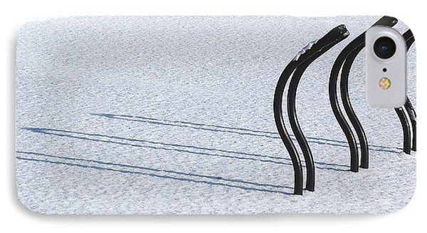 Bike Racks In Snow Phone Case by Steve Somerville