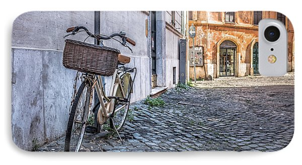 Bike With Basket On Streets Of Rome IPhone Case by Edward Fielding