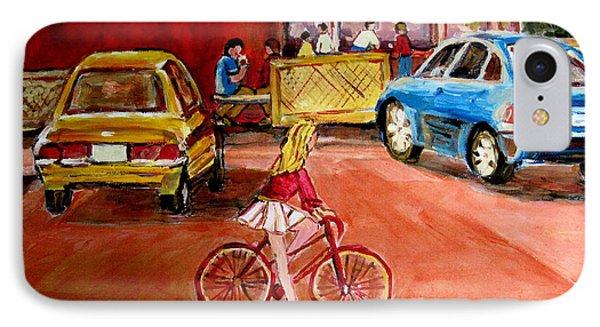 Biking To The Orange Julep Phone Case by Carole Spandau