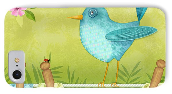 Bird On Clothesline IPhone Case by Valerie Drake Lesiak