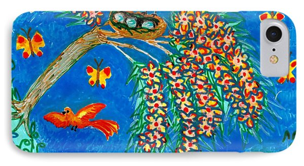 Birds And Nest In Flowering Tree Phone Case by Sushila Burgess