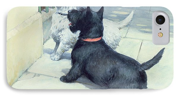 Black And White Dogs IPhone Case by Septimus Edwin Scott