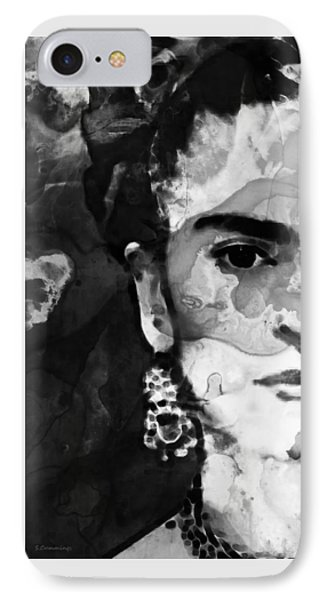 Black And White Frida Kahlo By Sharon Cummings IPhone Case by Sharon Cummings
