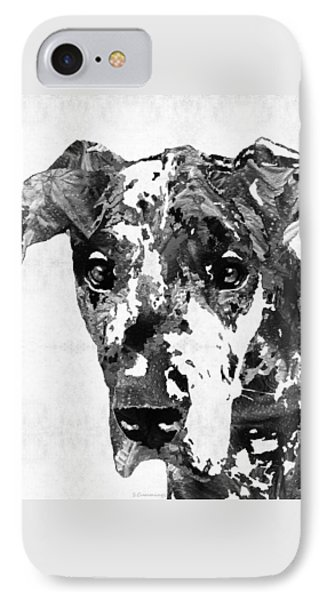 Black And White Great Dane Art Dog By Sharon Cummings IPhone Case by Sharon Cummings