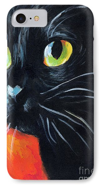 Black Cat Painting Portrait IPhone Case by Svetlana Novikova