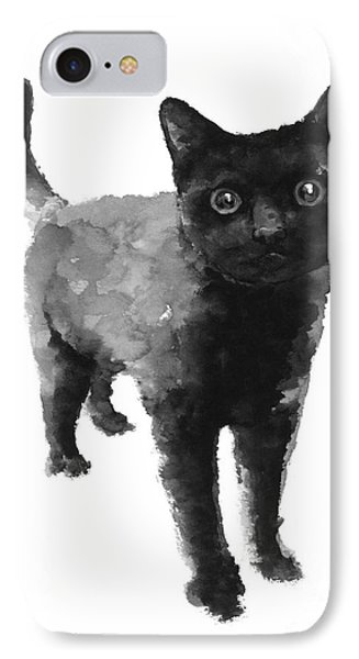 Black Cat Watercolor Painting  IPhone Case by Joanna Szmerdt