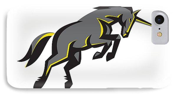 Black Unicorn Horse Charging Isolated Retro IPhone 7 Case by Aloysius Patrimonio