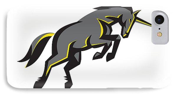 Black Unicorn Horse Charging Isolated Retro IPhone Case by Aloysius Patrimonio