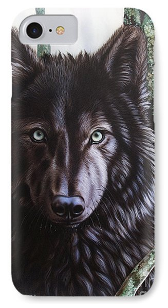 Black Wolf IPhone Case by Sandi Baker
